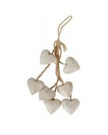 guirlande 6 cœurs bois blanc antique