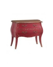 commode 2 tiroirs azzuro rouge 90x41x75 cm