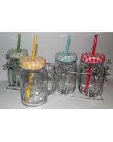 porte mugs avec 4 mugs en verre