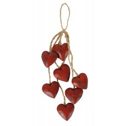 guirlande 6 cœurs bois rouge antique