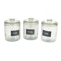 set 3 pots grillagés avec couvercle thé sucre café