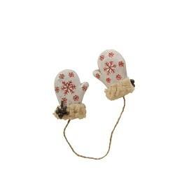 paire de moufle décorative blanche