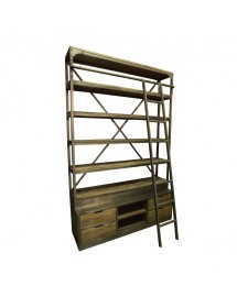 etagere bois metal avec echelle 245x160x45