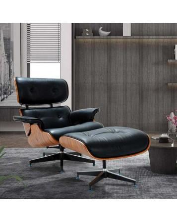fauteuil et repose pied en cuir et bois