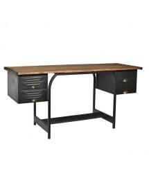 bureau 4 tiroirs 166x75x55 bois et métal