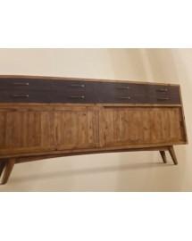 buffet 2 portes bois naturel 8 casiers métal 200x90x45