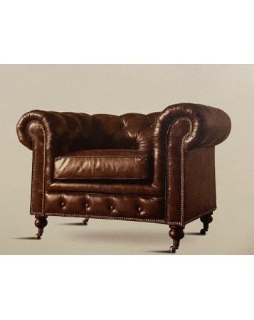 fauteuil chester cuir veritable 118x92x80