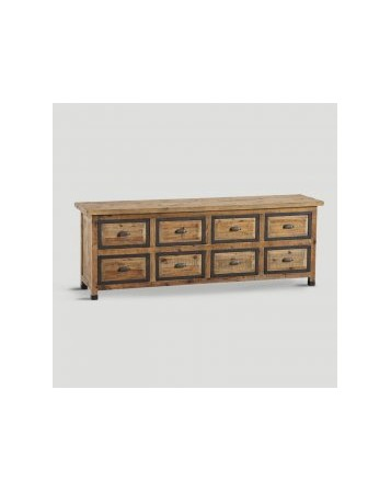 meuble bois naturel 8 tiroirs 215x77x50