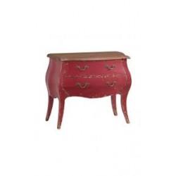 commode 2 tiroirs azzuro rouge 90x41x75 cm
